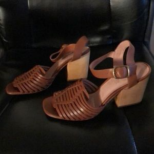 Madewell The Willa wooden heel leather sandals 8.5